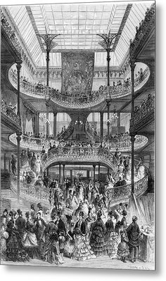The New Staircase In Au Bon Marche, From Le Monde Illustre Metal Print by Frederic Lix