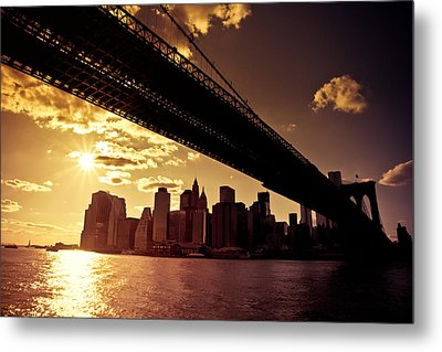 The New York City Skyline - Sunset Metal Print by Vivienne Gucwa