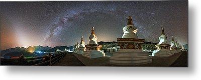 The Night Sky Over A Buddhist Shrine Metal Print by Jeff Dai