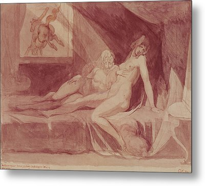The Nightmare Leaving Two Sleeping Women, 1810 Graphite & Wc On Paper Metal Print