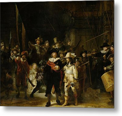 The Nightwatch, 1642 Oil On Canvas Metal Print by Rembrandt Harmensz. van Rijn