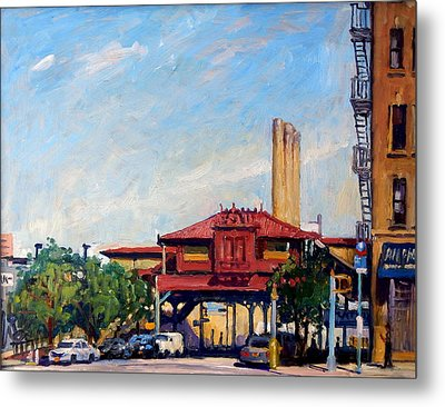 The Number One Train 215th Street Station Nyc Metal Print by Thor Wickstrom