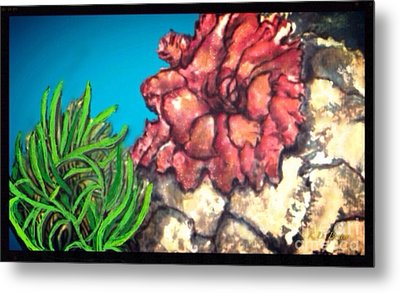 Metal Print featuring the painting The Odd Couple Two Very Different Sea Anemones Cohabitat by Kimberlee Baxter