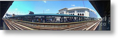 The Old And New Yankee Stadiums Panorama Metal Print by Nishanth Gopinathan