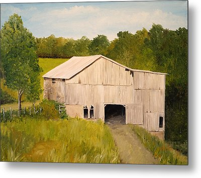 Metal Print featuring the painting The Old Barn by Alan Lakin