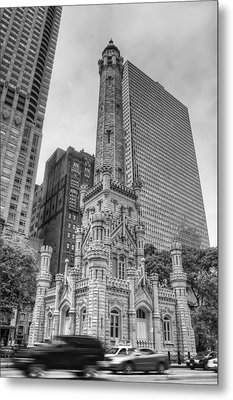 The Old Chicago Water Tower Bw Metal Print