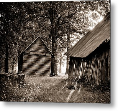 The Old Farm At Sunrise Metal Print by Amber Kresge