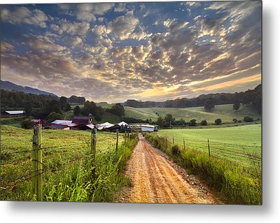 The Old Farm Lane Metal Print by Debra and Dave Vanderlaan