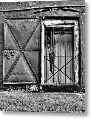 The Old Fort Gate-black And White Metal Print