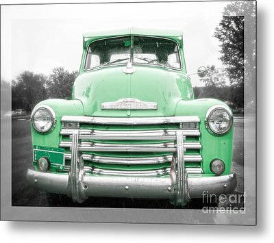 The Old Green Chevy Pickup Truck Metal Print by Edward Fielding