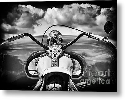 The Old Harley Monochrome Metal Print by Tim Gainey