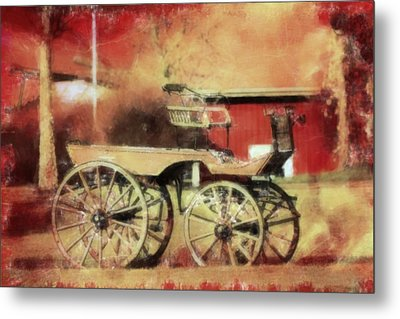 The Old Horse Cart Metal Print