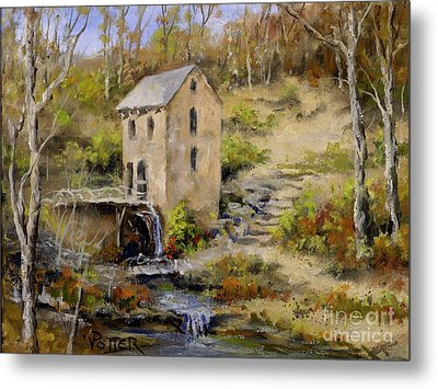 The Old Mill In Late Fall Metal Print by Virginia Potter