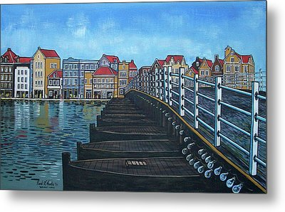 The Old Queen Emma Bridge In Curacao Metal Print