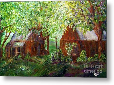Metal Print featuring the painting The Old Swing Between The House And The Barn by Eloise Schneider
