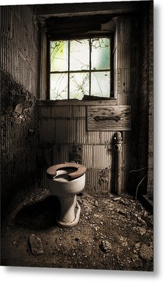 The Old Thinking Room - Abandoned Restroom And Toilet Metal Print by Gary Heller