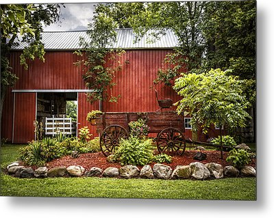 The Old Wood Cart Metal Print by Debra and Dave Vanderlaan