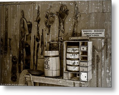 Metal Print featuring the mixed media The Ole Shop by Elaine Malott