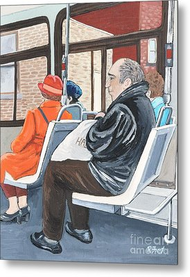 The Orange Coat On The 107 Bus Metal Print by Reb Frost