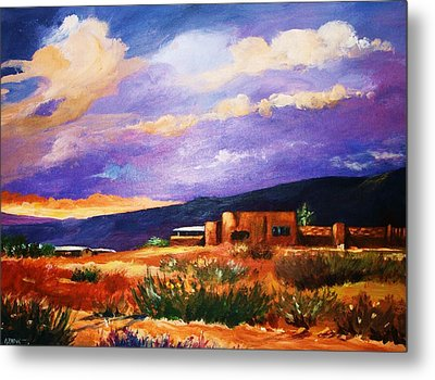 Metal Print featuring the painting The Orange Glow Of Sunset by Al Brown
