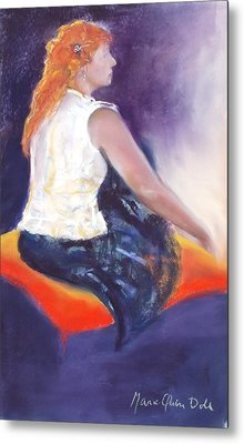 The Orange Pillow Metal Print by Marie-Claire Dole