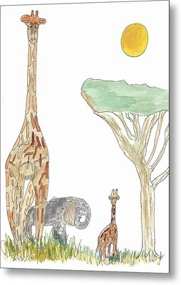 Metal Print featuring the painting The Elephant Orphan by Helen Holden-Gladsky