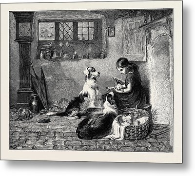 The Orphans, A Drawing In The Dudley Gallery Metal Print