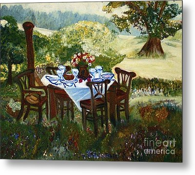 The Outdoor Gathering Metal Print by Helena Bebirian