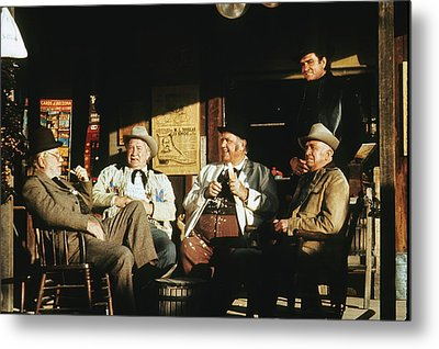 Metal Print featuring the photograph The Over The Hill Gang  Johnny Cash Porch Old Tucson Arizona 1971 by David Lee Guss