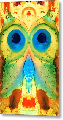 The Owl - Abstract Bird Art By Sharon Cummings Metal Print