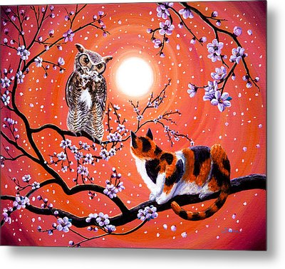 The Owl And The Pussycat In Peach Blossoms Metal Print by Laura Iverson