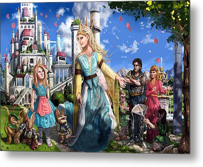 Metal Print featuring the painting The Palace Garden  by Reynold Jay