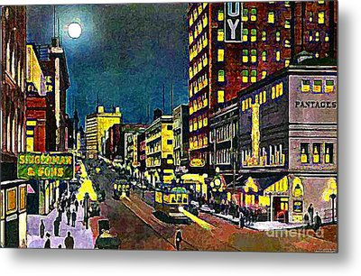 The Pantages Theatre In Seattle Wa Around 1910 Metal Print by Dwight Goss