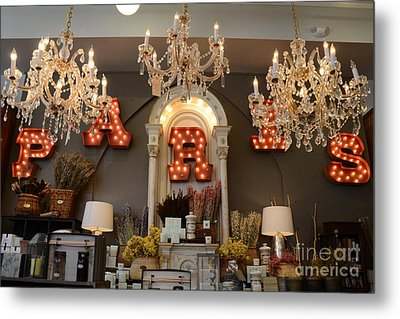 The Paris Market - Savannah Georgia Paris Market - Paris Macaron Shop - Parisian Chandelier Art Shop Metal Print