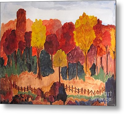 The Pasture In Autumn Metal Print by Sandy McIntire