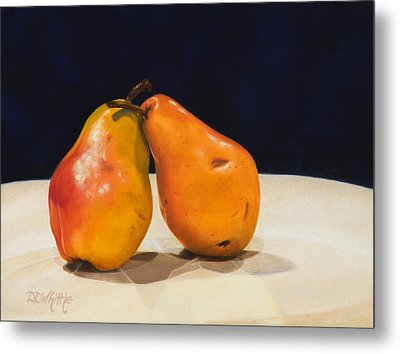 Metal Print featuring the painting The Pearfect Pair by Dee Dee  Whittle