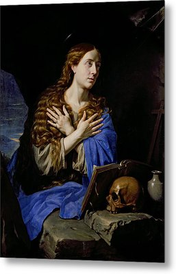 The Penitent Magdalene, 1657 Oil On Canvas Metal Print by Philippe de Champaigne