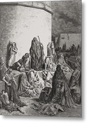 The People Mourning Over The Ruins Of Jerusalem Metal Print by Gustave Dore