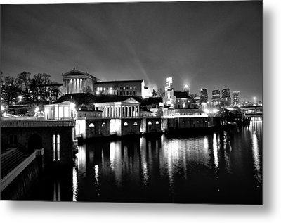 The Philadelphia Waterworks In Black And White Metal Print by Bill Cannon