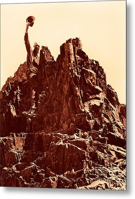 Metal Print featuring the photograph The Photographer On Pinnacle Peak Early 1900 Era by Eddie Eastwood