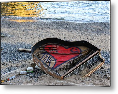 The Piano In New York Harbor Metal Print by Dora Sofia Caputo Photographic Art and Design