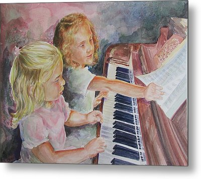 The Piano Lesson Metal Print by Gloria Turner