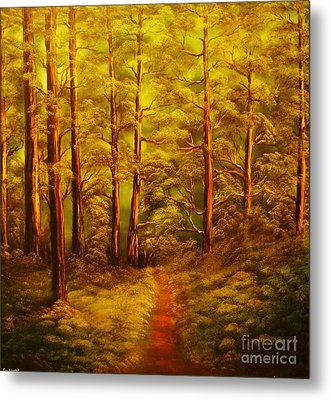 The Pine Tree Forest-original Sold-buy Giclee Print Nr 34 Of Limited Edition Of 40 Prints  Metal Print