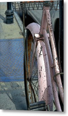 Metal Print featuring the photograph The Pink Bicyclette by Nadalyn Larsen