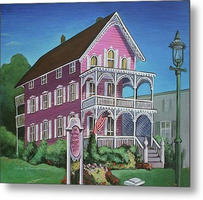 The Pink House In Cape May Metal Print by Melinda Saminski