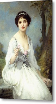 The Pink Rose Metal Print by Charles Amable Lenoir