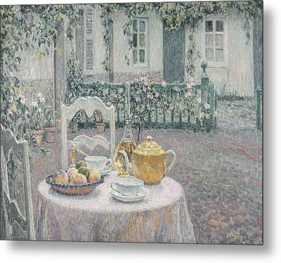 The Pink Tablecloth Metal Print by Henri Eugene Augustin Le Sidaner