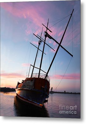 The Pirate Ship Metal Print by Barbara McMahon