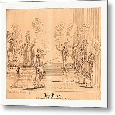 The Plan, Or A Scene In The French Cabinet Metal Print by English School