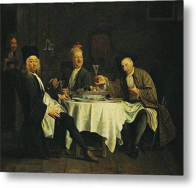 The Poet Alexis Piron 1689-1773 At The Table With His Friends, Jean Joseph Vade 1720-57 And Charles Metal Print by Etienne Jeaurat